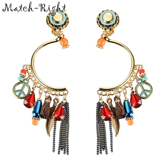 Match-Right Women Trendy Ethnic Vintage Statement Long Drop Metal Tassel Earrings for Women Jewelry Gifts LG-128