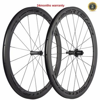 SUPERTEAM koła węgla 700C koła Clincher 50mm droga rowerowa koła rurowe 23mm z Powerway R7 Hub szybka wysyłka tanie i dobre opinie WH-R50CF-CN23mm 3K matte V hamulca CARBON Rowery drogowe 18-21H 1 pair of carbon wheels Toray T700 carbon fiber 500g+ -20g pcs