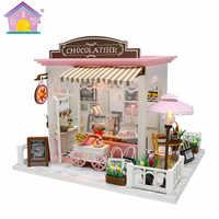 Sehr Nette DIY Geschenk Kakao Fantastische Ideen Kinder Erwachsene Miniatur Holz Puppe Haus Modell Gebäude Puppenhaus Spielzeug HD003