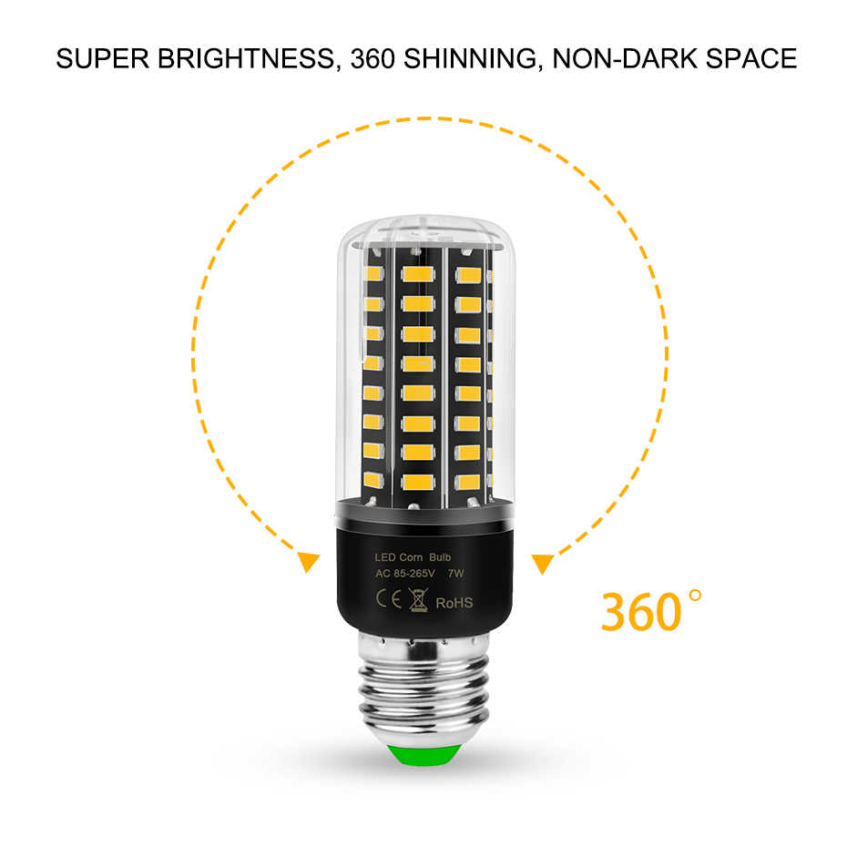 E27 LED Lamp E14 LED Light Bulbs 220V 110V 3.5W 5W 7W 8W 12W 15W 20W Corn Bulb Lampara LED 5736 No Flicker Ampoule for House