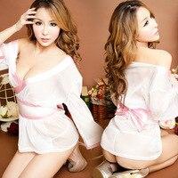 Corte baixo Lingerie E Robe Quimono Japonês Lingerie Sexy Para mulheres Vestido Curto Com Arco Babydolls Chemises Branco Para O Sexo jogos