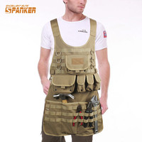 SPANKER 1000D Camouflage Tactical MOLLE Tank Mechanic Chef Cooking Grilling Apron Army Training Hunting Waterproof Nylon