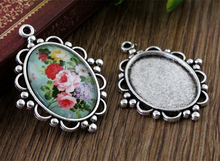 10pcs 18x25mm Inner Size Antique Silver Flowers Style Cameo Cabochon Base Setting Charms  Pendant Necklace Findings  (C2-01)