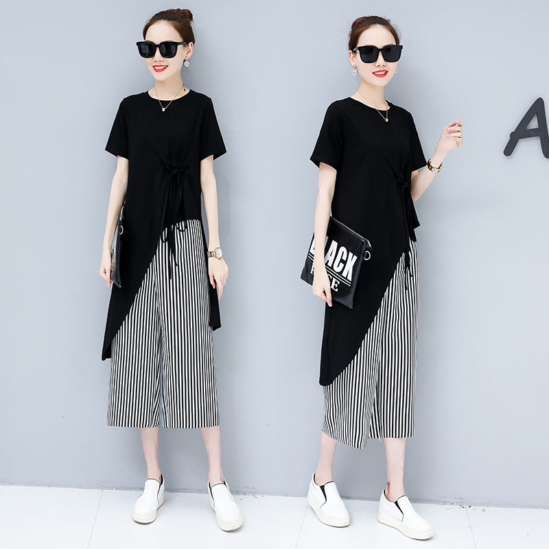Summer Casual Two Piece Sets Women Black White Short Sleeve Tshirt And Striped Wide Leg Pants Sets Suits Plus Size Women's Sets 32