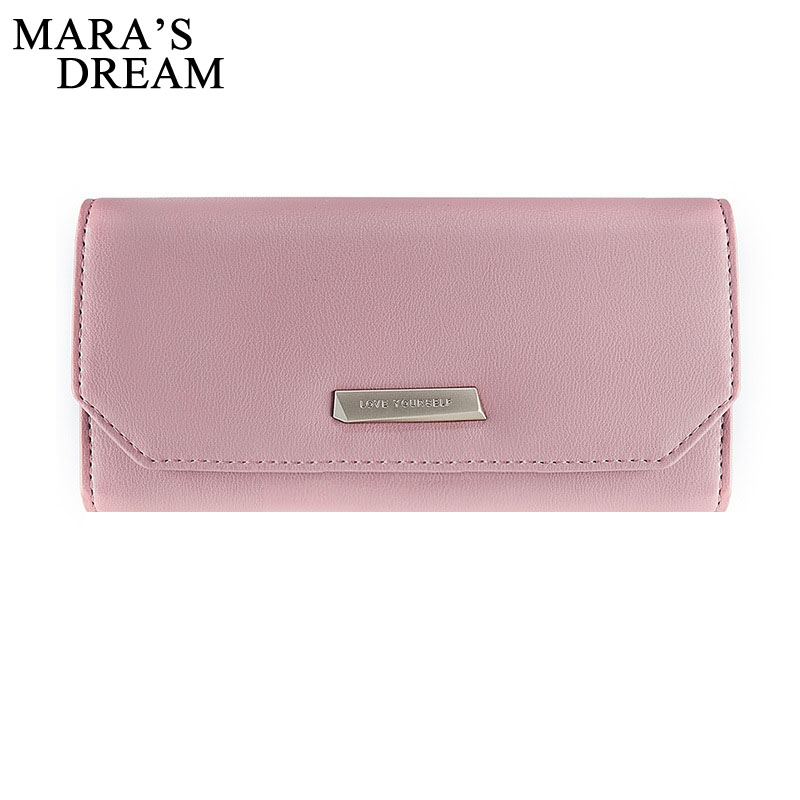 Mara's Dream 2018 New Women Wallets PU Leather Hasp Wallet Women's Long Solid Color Design Purse Third Fold More Color Clutch korean brand design pu leather solid hasp envelope day evening clutch wallets 16 card bags long wallet for women ladies purse