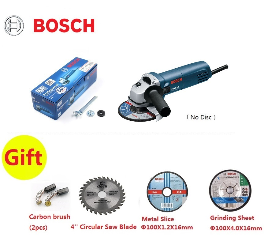 BOSCH GWS6-100 Angle Grinder 220V Cutting Polishing Machine Hand Wheel Electric Concrete Metal Polisher 100mm grinding disc 100 resin grinding wheel piece metal cutting type angle grinder using