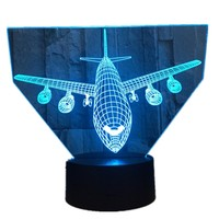3D Modelo De Avião de Ar de Luz Luz Da Noite Criativo Toque Avião Mesa lâmpada LED Lâmpada Ilusão Holograma 7 Cores Esfriar Brinquedo Ano Novo presente
