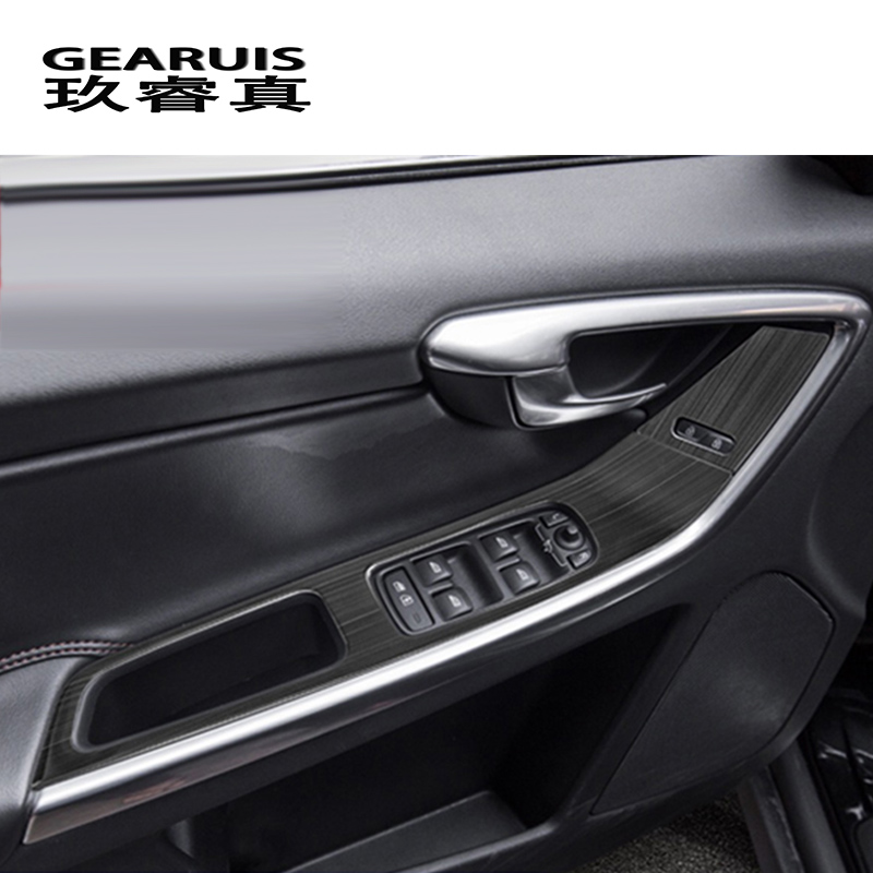 Car styling door armrest panel cover trim window glass lift buttons <font><b>frame</b></font> sticker for <font><b>Volvo</b></font> XC60 <font><b>S60</b></font> V60 auto Accessories LHD image