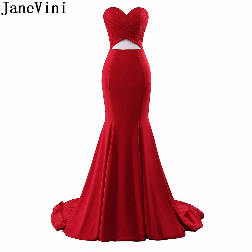 JaneVini Árabe Sereia Vermelho Vestido de Festa 2018 Querida Longo Cortar Vestidos de Dama de honra Sexy Dubai Ladies Botão Vestido Formal