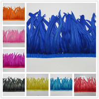 10 Yards/lot Rooster Feathers Trimming Fringe 35 40cm for DIY Garment Skirt Decoration Accessories Chicken Feather Strips IF25
