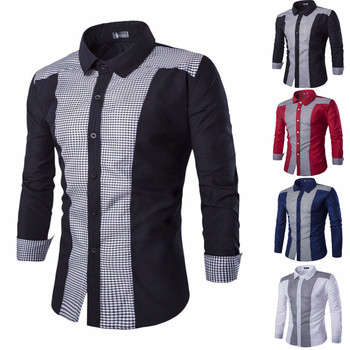 Fashion Men's Autumn Casual Shirts 2019 Turn Down Collar Oxford Formal Suits Slim Fit Tee Dress Shirts Blouse Top 1