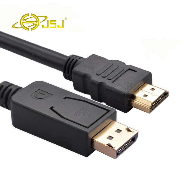 Jsj خط موانئ دبي إلى hdmi التلفزيون الرقمي عالي الوضوح واجهة displayport إلى hdmi محول كابل 1.8 متر ، 3 متر ، 5 متر