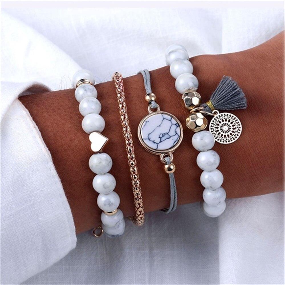 VOVA Multiple Styles Beads Bracelet Set For Women Bohemian Marble Stone Handmade Tassel Rope Chain Bracelets Party Jewelry пандора браслет с шармами