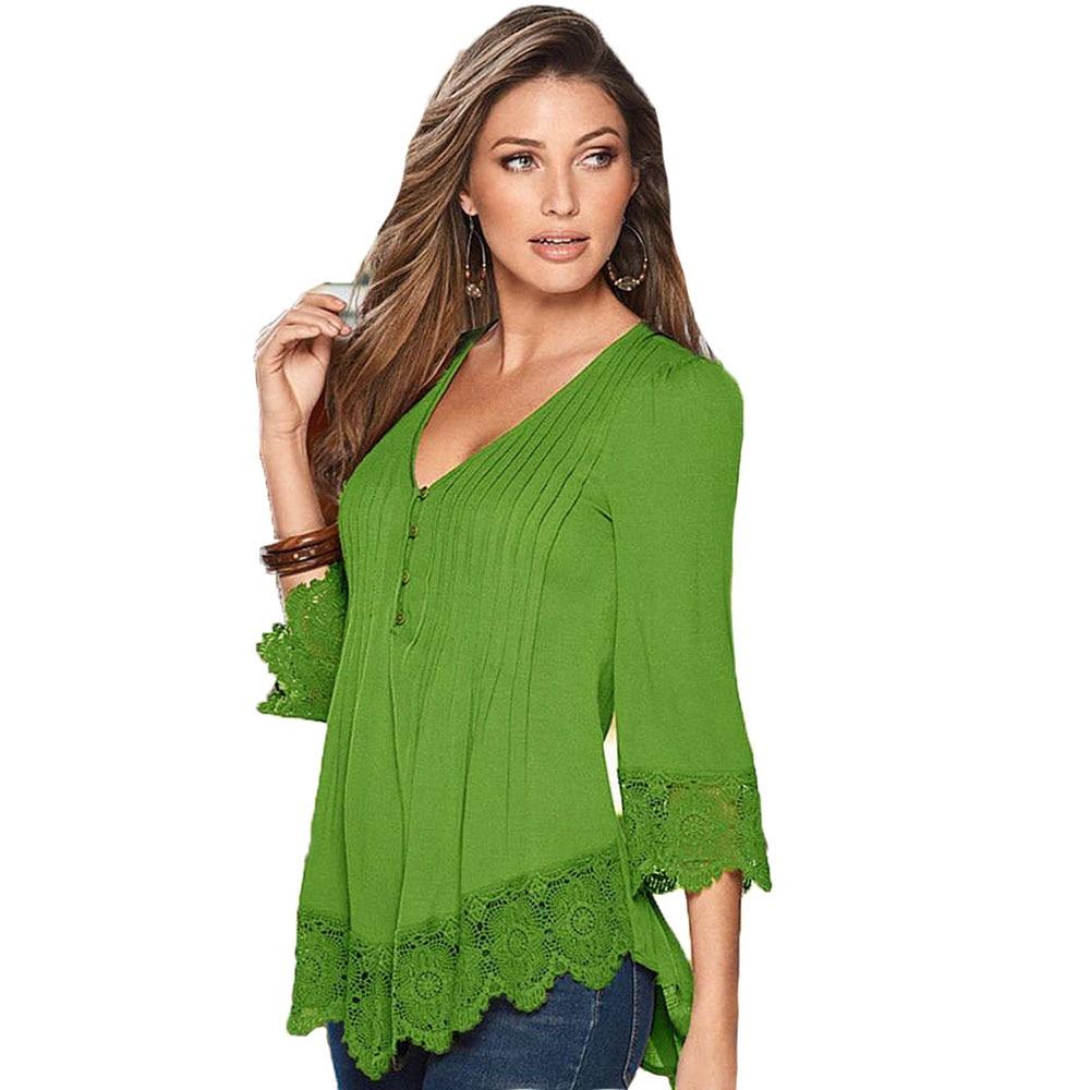 Lace Shirt Women Blouses Plus Size XXXXL Blusas De Renda ...