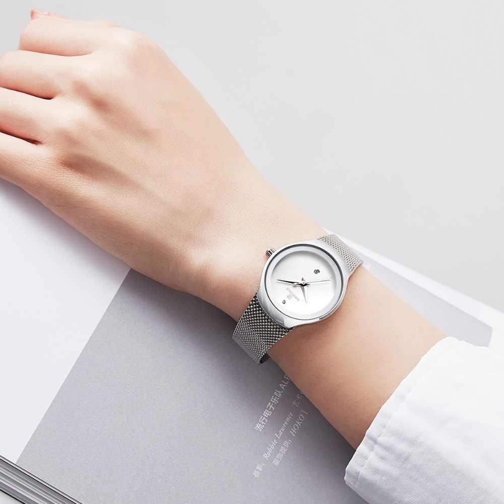 Relógios femininos naviforce topo marca de luxo senhora moda casual simples malha aço cinta relógio de pulso presente para meninas relogio feminino