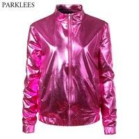 Rose Red Fashion Metallic Bomber Jacket 2018 Shiny Nightclub Womens Jackets and Coats Slim Fit Zipper Baseball Varsity Jacket