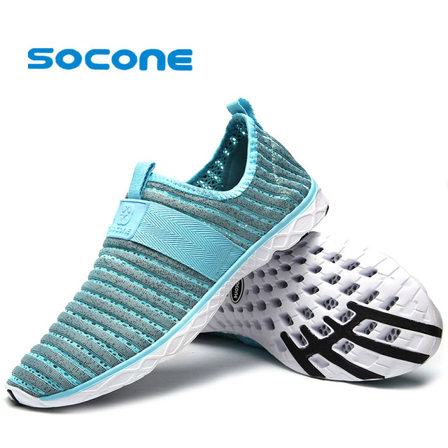 c5c59e44d791a Socone New Quick-Drying Beach Water Shoes For Ladies Women Outdoor Slip On Aqua  Shoes Lightweight Sport Sneakers Plus Size 36-47