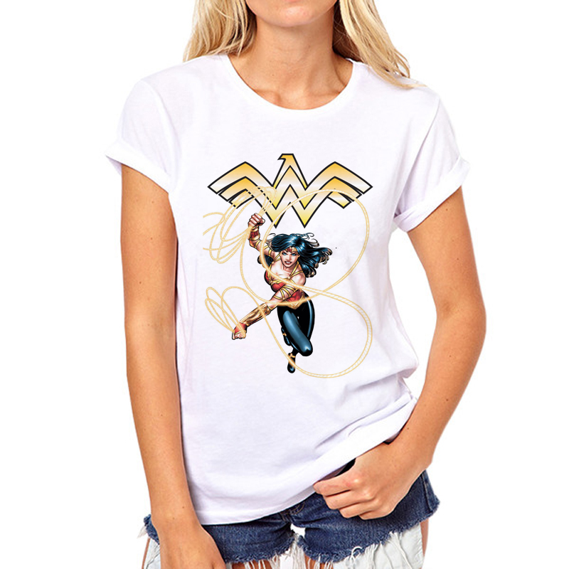 2018 Wonder Woman Print Sexy Fashion Punk tops Printed Women   T     Shirt   Camisetas Femininas Girl   T  -  shirt   Tops N5-3#