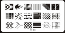 1PCSImage PlateS For Stamping Nail Art Stencil Template Various Geometry Wave Line Full Cover Rectangle Polish Decor XY-Z35