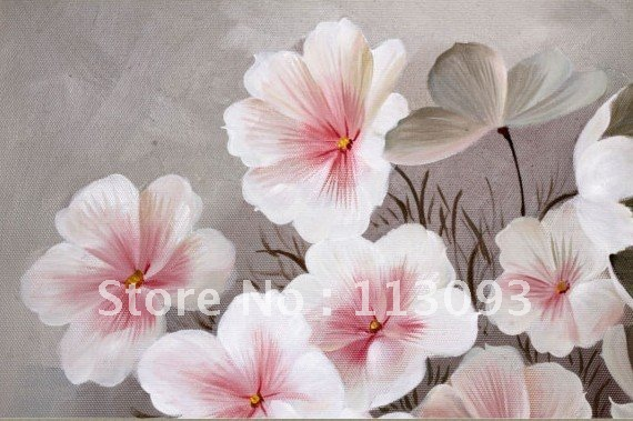 White flowers with pink flower large size hand painted oil paintings on canvas home decorative modern 60x80cm free shipping in painting white flowers with pink flower large size hand painted oil paintings on canvas home decorative modern 60x80cm free ship