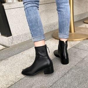 Image 5 - ALLBITEFO naturale del cuoio genuino tacchi alti stivali di cuoio delle donne punta quadrata tallone spesso caviglia stivali per le donne nuovi stivali invernali