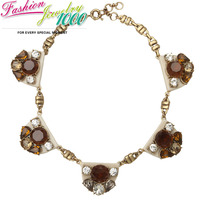 Vintage Brand Half Round Brown White Crystal Collar Bib Necklace Fashion Chunky Statement Choker Charm Jewelry