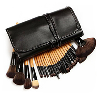 Professional 24pcs Makeup Brush Set + PU Brushes Carry Case Foundation Brush Blush Brush Facial Makeup Tools