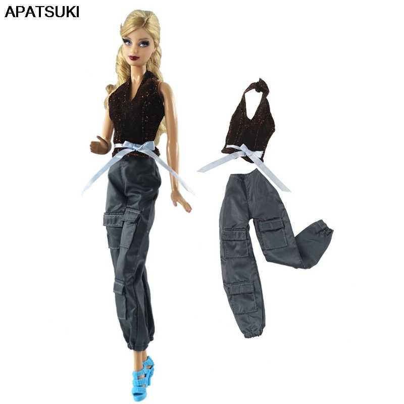 1 комплект модный топ и штаны для девочек, брюки для куклы Барби одежда для детей модная одежда для кукольный домик Barbie кукла 1/6 аксессуары детские игрушки