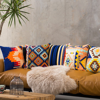 Embroidered Geometric Cushion Cover