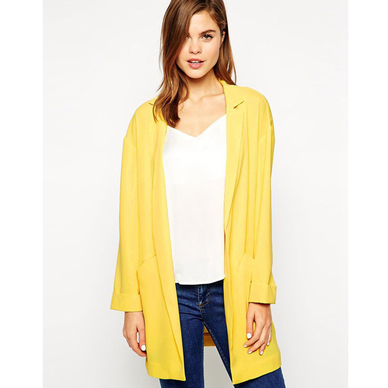 New Arrival Women Plus Size Blazer Jacket Yellow Cardigan Suit ...