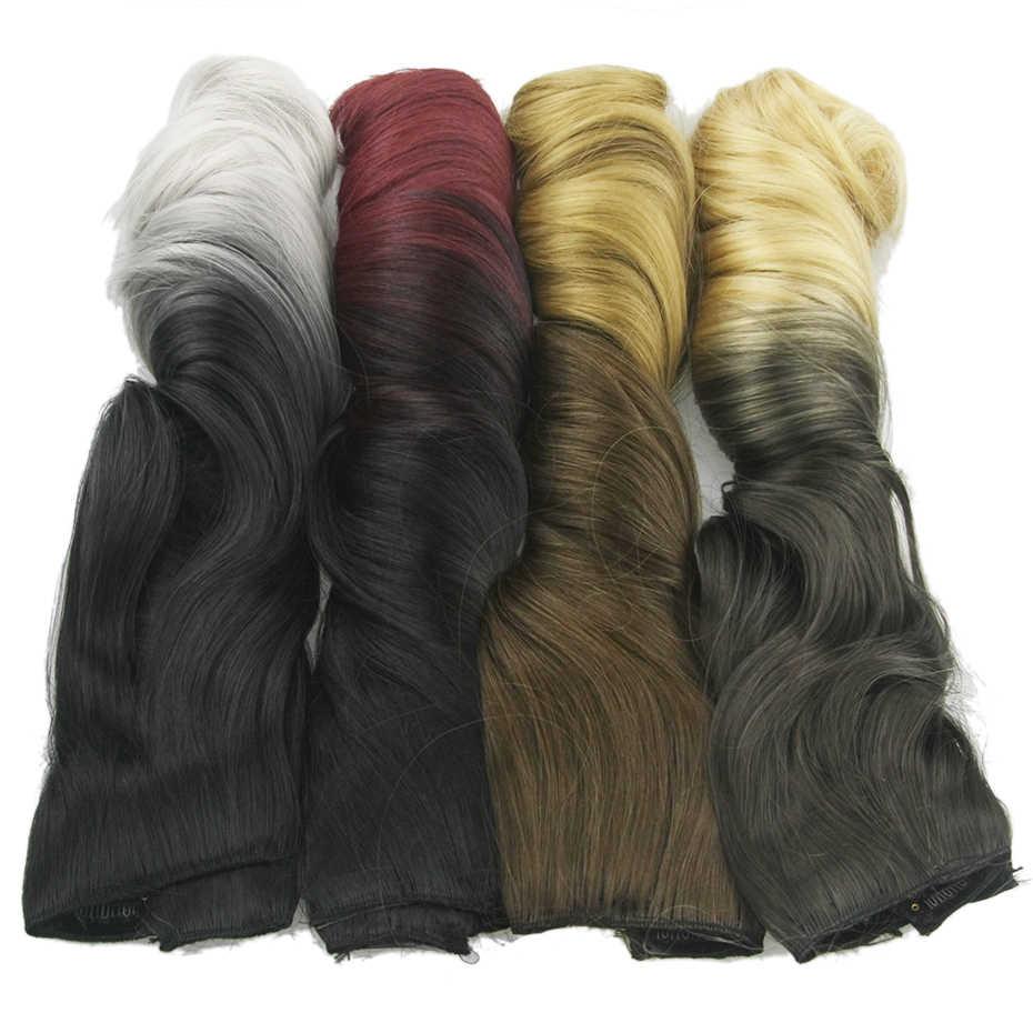 Soowee 120g 60 cm Uzun Kıvırcık Siyah Sarışın Sentetik Saç Yüksek Sıcaklık Fiber 5 klipsli postiş Postiş Pad