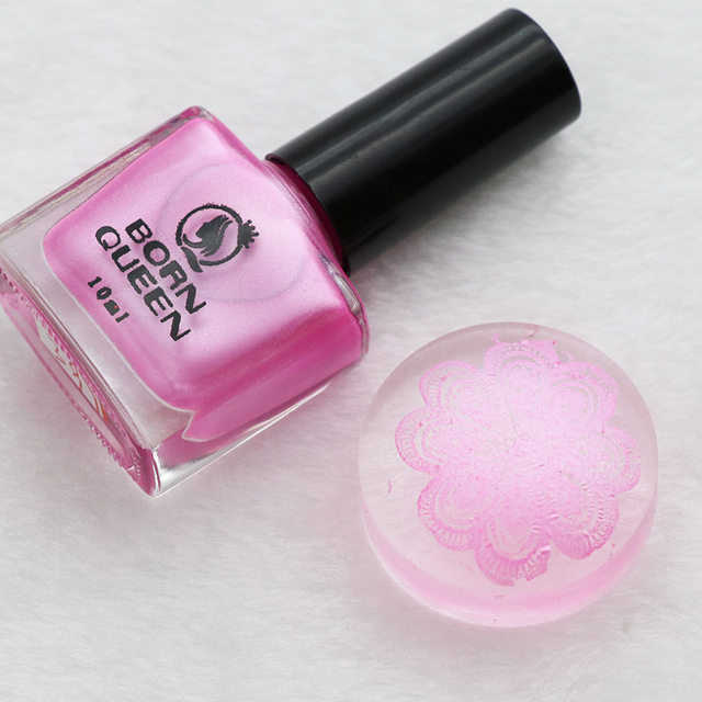 1 Bottle 10ml BORN QUEEN Sweet Pink Stamping Nail Polish Shimmer ...