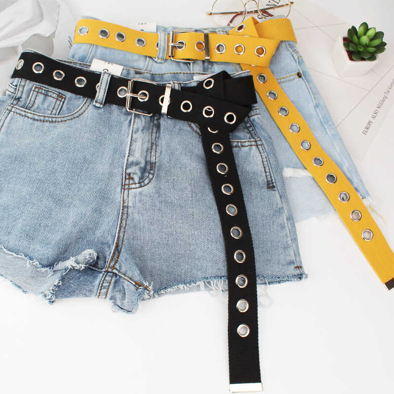 Long Personality Harajuku Casual Ring Black Metal Belt Students Jean Canvas Waist Belts Tide Silver Pin Buckle
