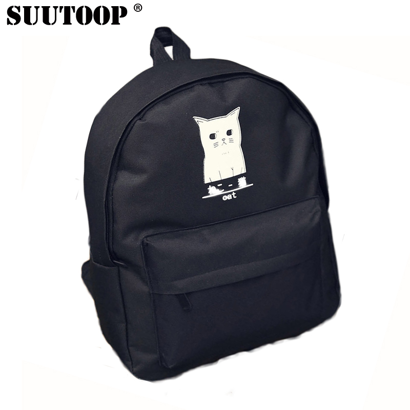 Suutoop Brand Backpack For Teenagers Girls Designer Cat Anime Canvas Black Waterproof School Boys Women Laptop Bag