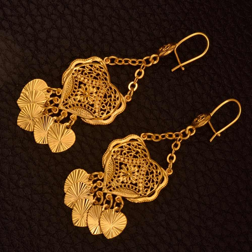 Anniyo Trendy Middle East Earrings for Women,Arab Dubai Gold Color Jewelry Gifts With Heart African Jewellery #111106