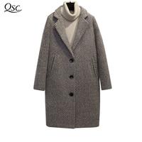 QSC длинные шерстяные пальто Women2018 зимняя куртка из смешанной ткани пальто в клетку женская толстый отложной с принтом в полоску свободная мо