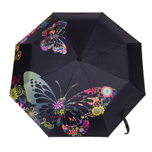 Butterfly Folding Umbrella Lady Wind Resistant Black Coating Flower Parasol Big Windproof Women Rain Umbrellas