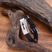 Stainless Steel Silicone Buckle Bangle Cross Design