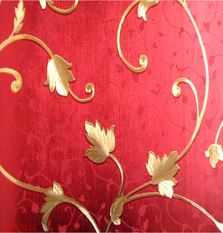 ФОТО gold foil red flower pvc embossed washable background wallpaper with 3 colors selection by free shipping