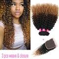 3 шт. Цветные 1B #4 #27 Монгольский Человеческие Волосы Ломбер вьющиеся переплетения расслоения с 4x4 странный вьющиеся закрытия шнурка афро кудрявый вьющиеся продажа
