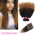 3pcs Colored 1B#4#27 Mongolian Human Hair Ombre curly weave bundles with 4x4 kinky curly lace closure afro kinky curly sale