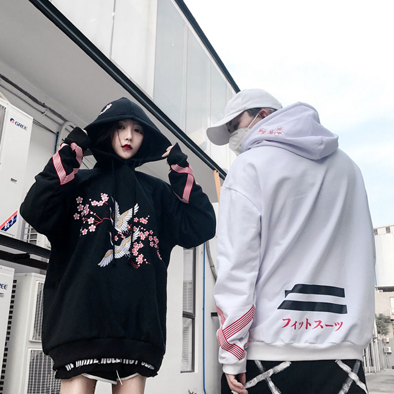 Cranesembroidered flowers add hair thickening hooded fleece single men and women lovers loose BF hip hop cap unlined upper garm-in Hoodies & Sweatshirts from Women's Clothing