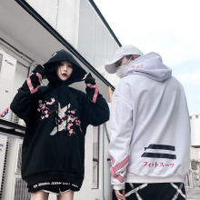 Cap Hooded Flowers Cranesembroidered Loose Lovers Women And Add BF Hair Fleece Hip-Hop