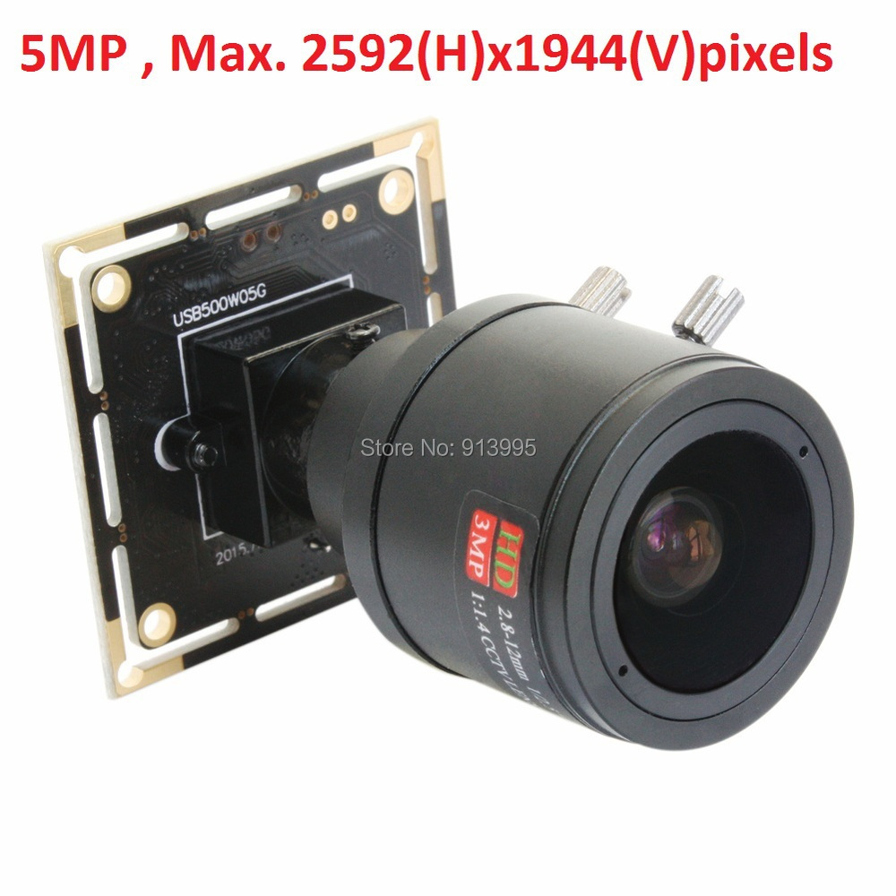 Free shipping 5MP 2592 (H) x 1944 high resolution Aptina MI5100 color CMOS 2.8-12mm varifocal lens USB 2.0 mini camera module цены