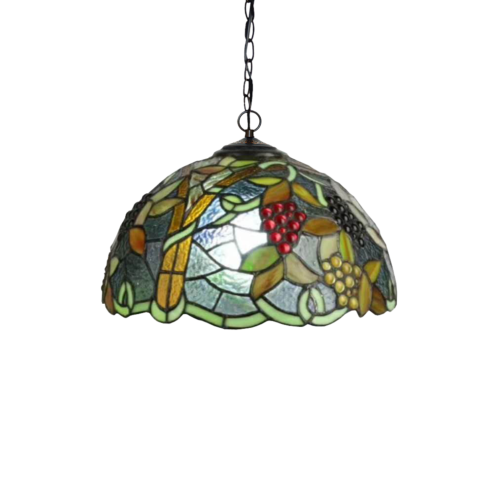 Vintage Rustic Rural Garden Green Plant Grape Stained Glass Turkish Coffee Bar Counter Art Deco Led Hanging Pendant Lamp Light
