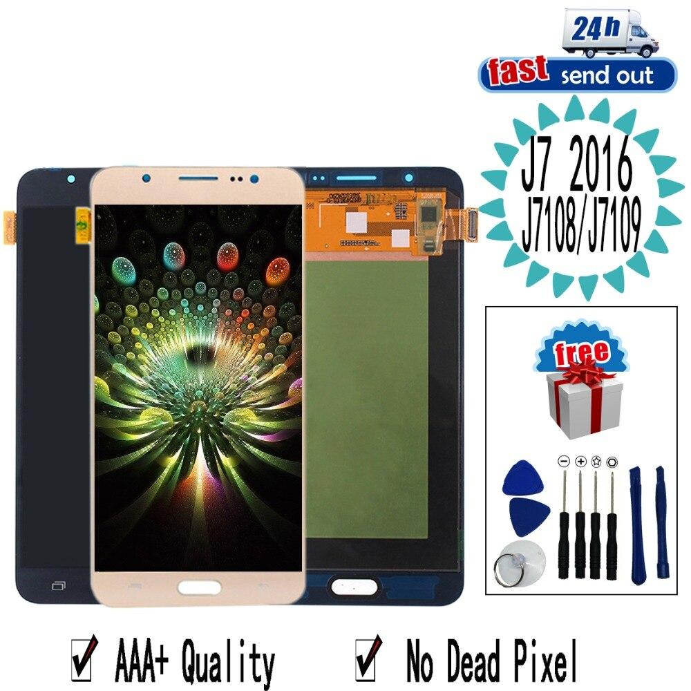 J7108 J7109 AMOLED LCD pour SAMSUNG Galaxy J7 2016 J7108 J7109 écran tactile écran tactile testé numériseur assemblée