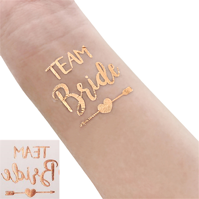 fdf8eb56e 50Pcs Rose Gold Bride Temporary Tattoo Bachelorette Party Accessories  Bridesmaid Bridal Shower Wedding Decoration Photographs,Q