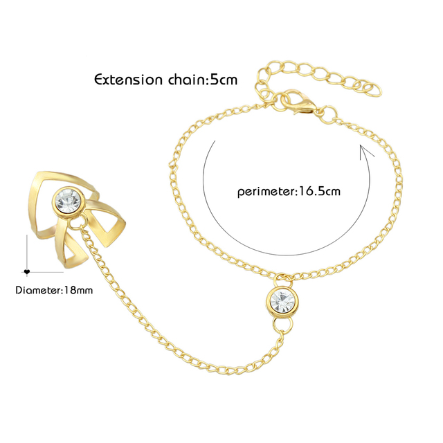 Slave bracelet with zigzag ring and rhinestones