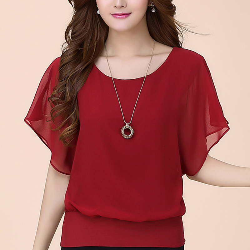 Women Tops and Blouse Butterfly Shorts Sleeve O-Neck Chiffon Blouse Loose Casual Summer Shirts Solid Blusas Clothes Plus Size 5X 1