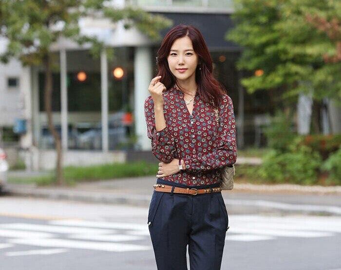 2014 autumn tops woman Floral Chiffon blouse shirts Tops Shirt Long Sleeve Feminina de Manga Longa - Fashion Store1008 store
